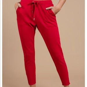 Tobi Red zip ankle sweatpants